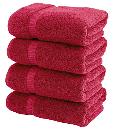 - White Classic Luxury Bath Towels Large - Circlet Egyptian Cotton | Highly Absorbent Hotel spa Collection Bathroom Towel | 27x54 Inch | Set of 4 | Burgundy