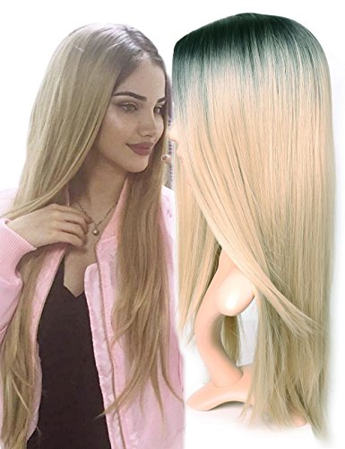 Cheap Blonde Wigs (Golden Rule Ombre Wig Blonde Non-Lace Front Wig Middle Part Straight Heat Resistant Synthetic Cosplay&Party Wigs for Women (1B/Blonde))