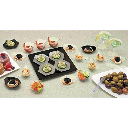 Mini Disposable Oval Relish Dish Black Polystyrene - 3 1/4 L x 2 1/2 W x 3/4 H 200 Per Case