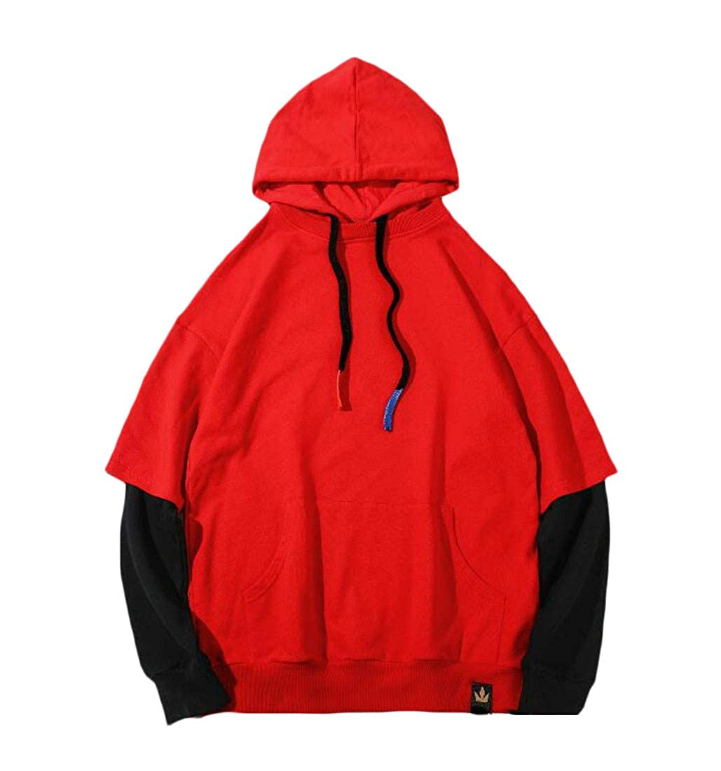 Pandapang Mens Pullover Classic Fit Warm Slim Drawstring Hooded Sweatshirts