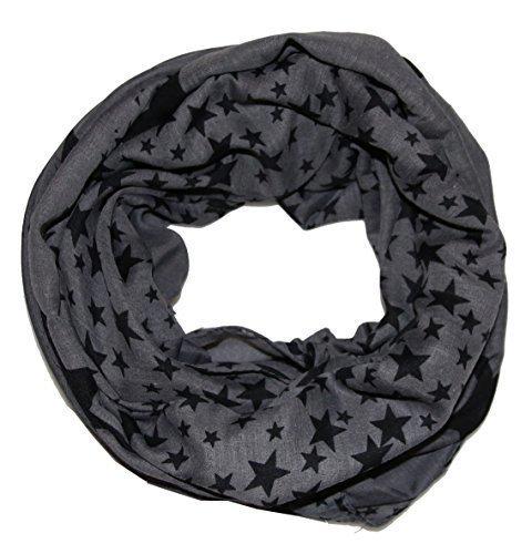 leichter Sterne Loop Schal - tolle Farben (grau schwarz)