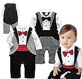 Angelchild Baby Boys Tuxedo Gentleman Onesie Romper Jumpsuit Formal Wedding Suit Red 90,Tag 90CM(9-12Months),Red