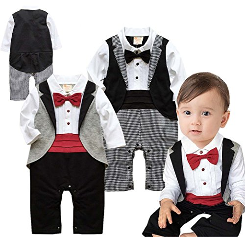 Angelchild Baby Boys Tuxedo Gentleman Onesie Romper Jumpsuit Formal Wedding Suit Red 90,Tag 90CM(9-12Months),Red by Angelchild