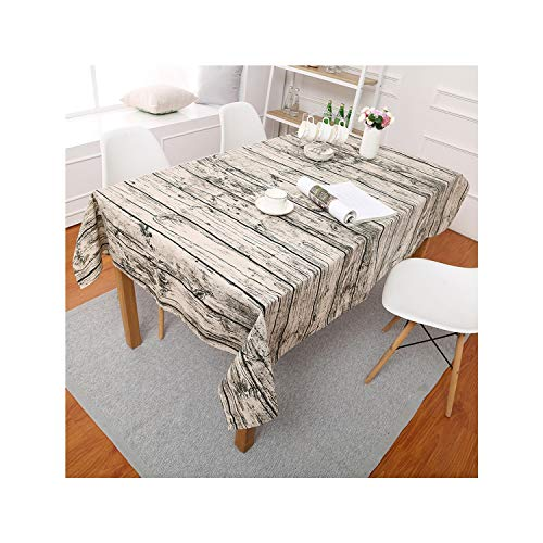 SunnyWarm Wood Grain Pattern Decorative Table Cloth Cotton Linen Tablecloth Dining Table Cover for Kitchen Home Decor,140160Cm