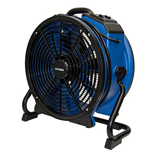 XPOWER X-48ATR Professional Heat Resistant Industrial Axial Fan - with Built-In Power Outlets, Timer, and Variable Speed Control - Blue