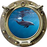 12'' Porthole Sea Window View DOLPHIN #1 ANTIQUE BRONZE Wall Decal Kids Sticker Room Home Art Décor SMALL