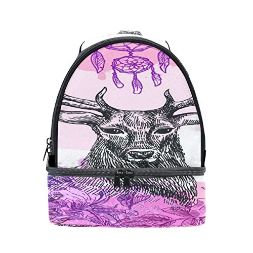 Insulated Lunch Bag Purple Deer Double-layer Zipper Meal Lunch Box Shoulder Tote for Men Women Boy (Double Shoulder Deer)