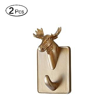 LEEQ Colgador de Puerta Adhesivo para Toallas de Ropa, Resina, diseño de Cabeza de Animales, 2 Unidades, Color Elk(Elk): Amazon.es: Hogar