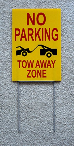 """1-Pcs Reasonable Unique No Parking Tow Away Zone Sign 1-Side Printed Park Message Plastic Tenant Visitor Fine Stand Decor Lawn Property Van Car Permit Pole Custom Only Reserved Size 8""""x12"""" w/ Stake"""