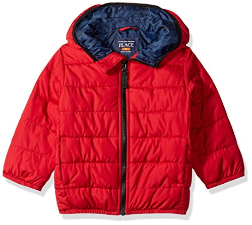 The Children's Place Little Boys and Toddler Puffer Jacket, Classic Red, 3T