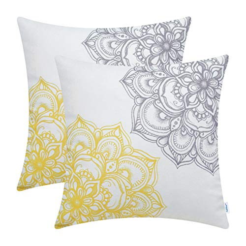 CaliTime Pack of 2 Cozy Fleece Throw Pillow Cases Covers for Couch Bed Sofa Vintage Dahlia Floral Both Sides 18 X 18 Inches Yellow Grey (Pillows Yellow And Gray)