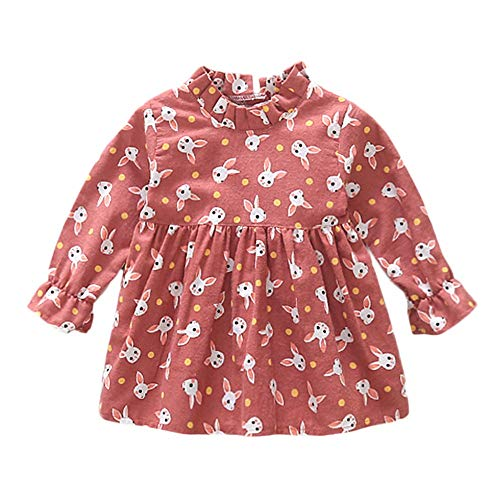 - Littay Toddler Baby Kids Girls Rabbit Cartoon Ruched Princess Dresses Clothes