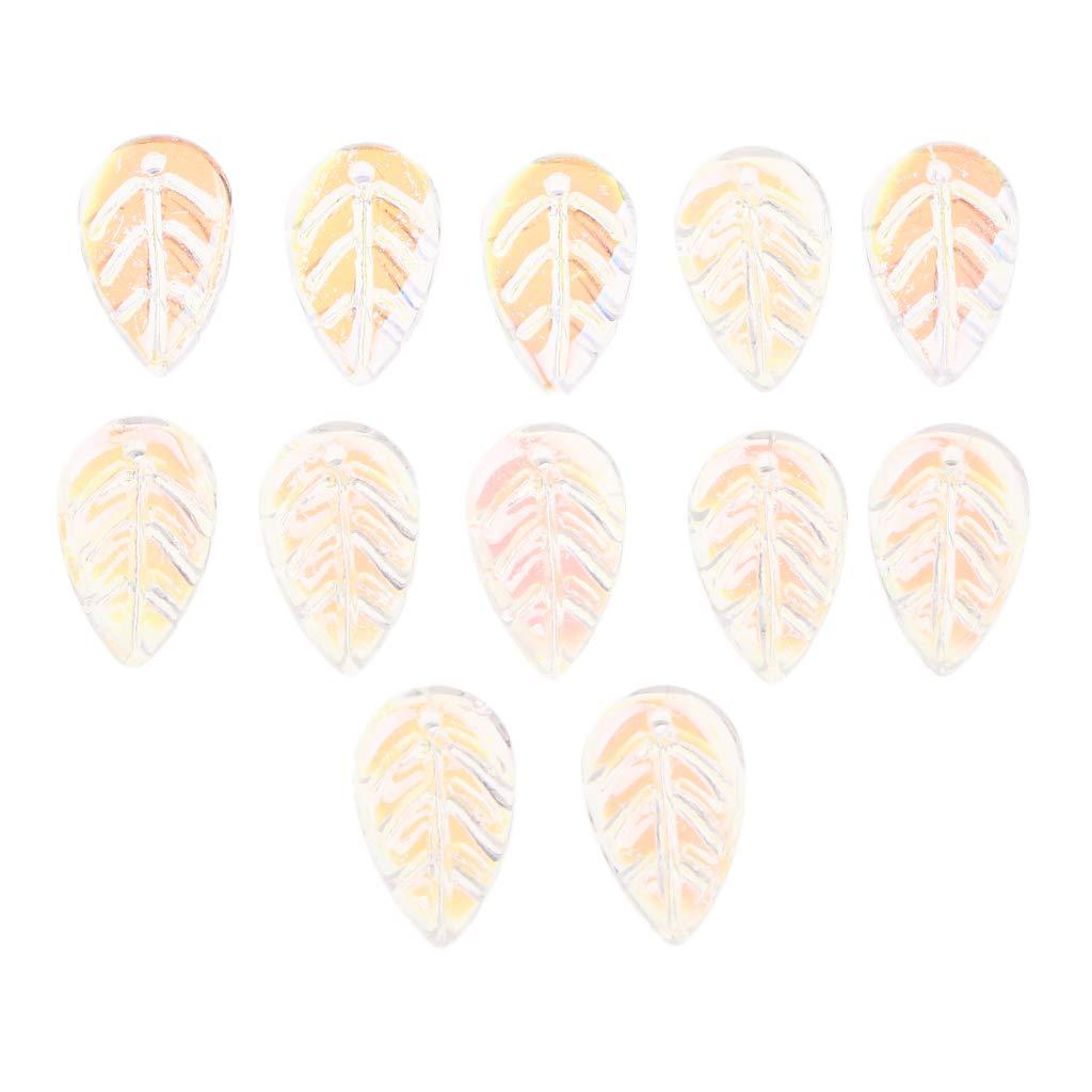 B Baosity 12 Piezas Hoja Flor de Pétalos de Cristal Espaciador Suelto Perlas DIY Adornos para Fabricación de Joyas - 1.4x1.2 cm