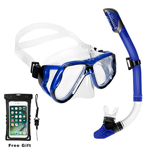 Snorkel Set, Goggles Mask with Comfortable Soft Mouthpiece Dry Snorkel Set for Adult Youth Anti-Fog Coated Snorkeling Diving with Waterproof Pouch (Blue Snorkel Set)