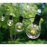 Fulton Illuminations 100 Ft G40 String Lights with 100 Globe Lights (Plus 20 Extra Bulbs) for Indoor & Outdoor Use - Perfect for Wedding Lights (Black)