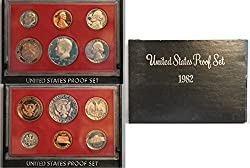 """The 1982-S United States Mint Proof Set contains all 5 circulating coins in stunning proof condition displayed in one protective lense. Each of these 1982-dated coins bears the """"S"""" mint mark of the United States Mint at San Francisco.The coins includ..."""