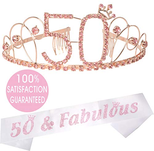 50th Birthday Tiara and Sash| Happy 50th Birthday Party Supplies | 50 & Fabulous Black Glitter Satin Sash and Crystal Tiara Birthday Crown for 50th Birthday Party Supplies and Decorations -