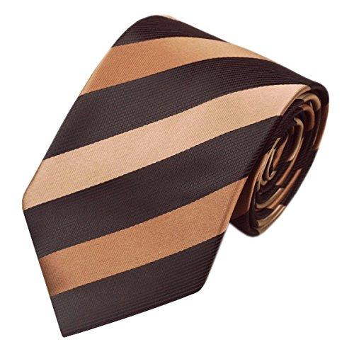 Black Chocolate Tan Striped Tie Hanky Cufflinks Sets Mens 100/% Silk Ties for Men Formal