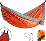 Wanqiu Camping Hammock - Single&Double Ultra-lightweight Parachute Nylon Hammock for the Outdoors Backpacking Survival Travel Beach Yard