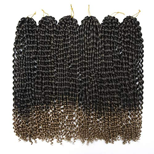 Synthetic Passion Twist Crochet Hair Extensions Curly Braiding Ombre Bohemian Curl For Passion Twists Water Wave Braids 20 Inch 6Packs/Lot 450g Black Blond Color 1b/27 from Refeeny