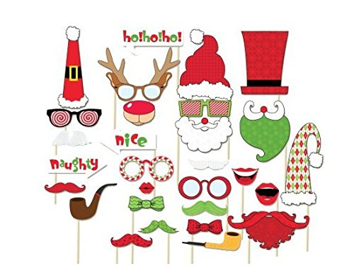Christmas Photo Booth Props, New Year Christmas Party Decoration, Mask, Attached to the stick NO DIY Required, USA-SALES Seller (29 pcs) (Christmas Cookie Unique Decorating Ideas)