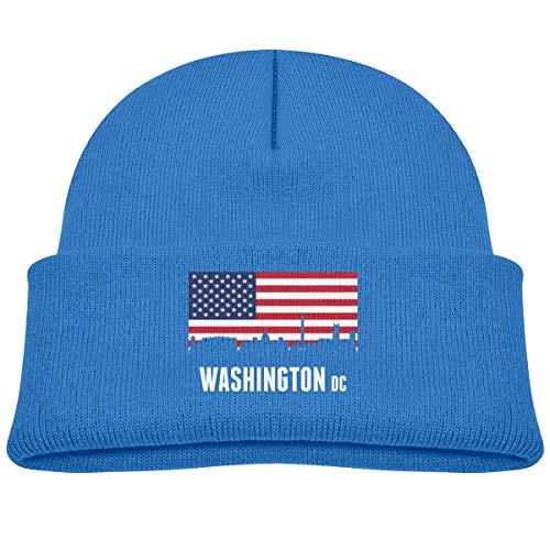 American Flag Washington DC Infant Warm Beanie Winter Hat Knit Cap Blue ()