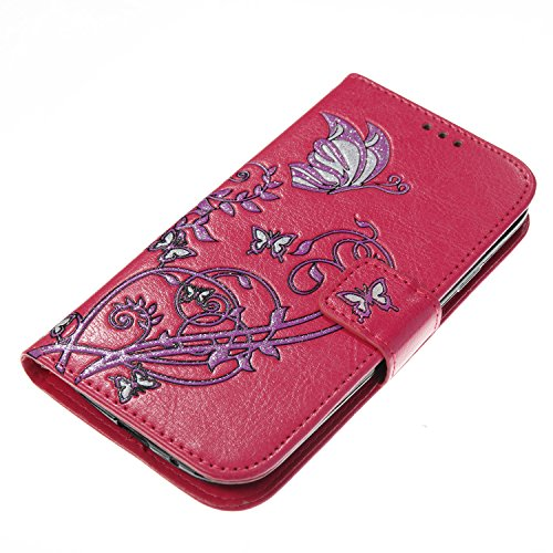 Para Samsung Galaxy S3 funda, (Rose Red) Narcisos caja del teléfono de la PU patrón en relieve ,Función de Soporte Billetera con Tapa para Tarjetas correa de mano soporte para teléfono Rose Red