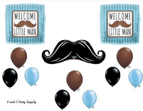 WELCOME LITTLE MAN MUSTACHE BABY SHOWER Balloons Decorations Supplies....12 pieces! (Mustache Baby Shower Supplies)