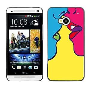 TopCaseStore / la caja del caucho duro de la cubierta de protección de la piel - Kiss Sensual Woman Yellow Pop Art - HTC One M7