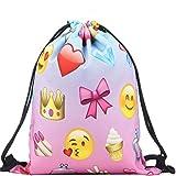 Donalworld Ladies Emoji Backpack Drawstring School Bag Printing Backpacks