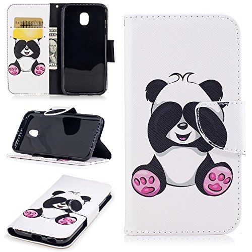 EUWLY Leather Case for Samsung Galaxy J3 2017 European Version,Samsung Galaxy J3 2017 Leather Wallet Protective Case Cover,Beautiful Paintings Pattern High Quality Leather Bookstyle Wallet Case Magnet Panda