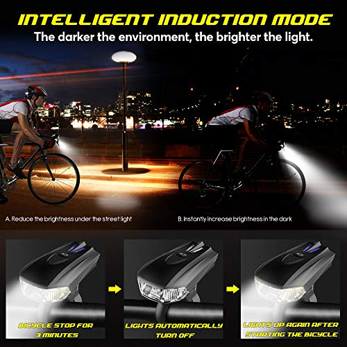 GreenClick USB Rechargeable Bike Light Set,Powerful Waterproof Bicycle Headlight and Taillight Set Super Bright Front Light and Rear Light for Bike,Road Bike,Mountain Bike,Light Bike Night Rider