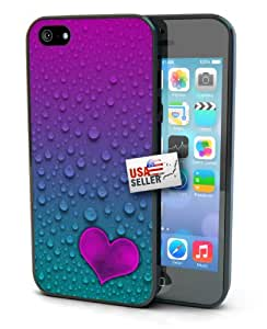 Water Drops Raindrops Pink Teal Heart Art Black Plastic Cover Case for iPhone 6 Plus (5.5 inch)