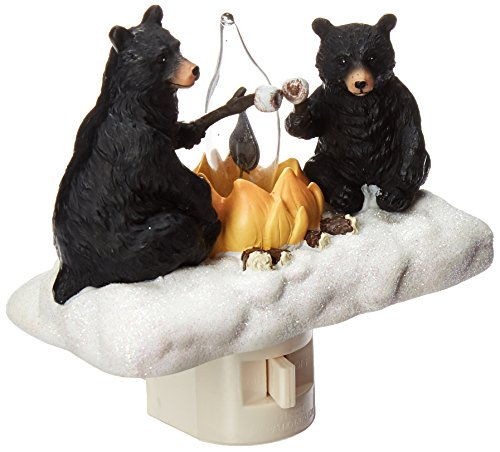 Woodland Wall Fixture - Roman Lights Exclusive Plug in Night Light, Features 2 Bears Roasting Marsh Mellows Around a Flickering Flame Camp Fire, 4.5-Inch