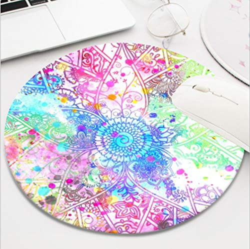 Ydset Cute Flower Henna Hand Drawn Design Watercolors Custom Mouse Pad Waterproof Material Non-Slip Rubber Round Mouse Pad(7.8x7.8x0.08inch) for Office Desktop or Gaming Mouse Mat Keyboard Pad -