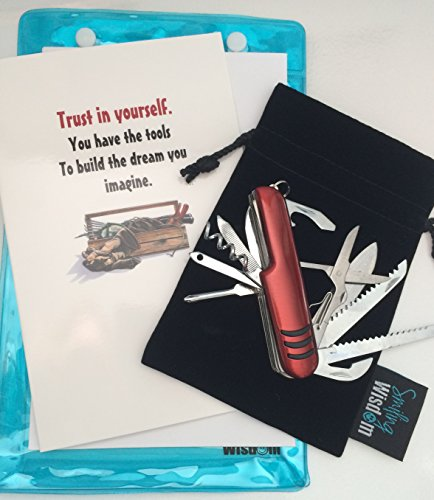 Smiling Wisdom - Red Multifunction Compact Pocket Army Knife Gift Set - Believe You Can Gift Set - You Have the Tools to Build Your Dreams Inspirational - Him, Her, Son, Father's Day, 2019 Grad ()