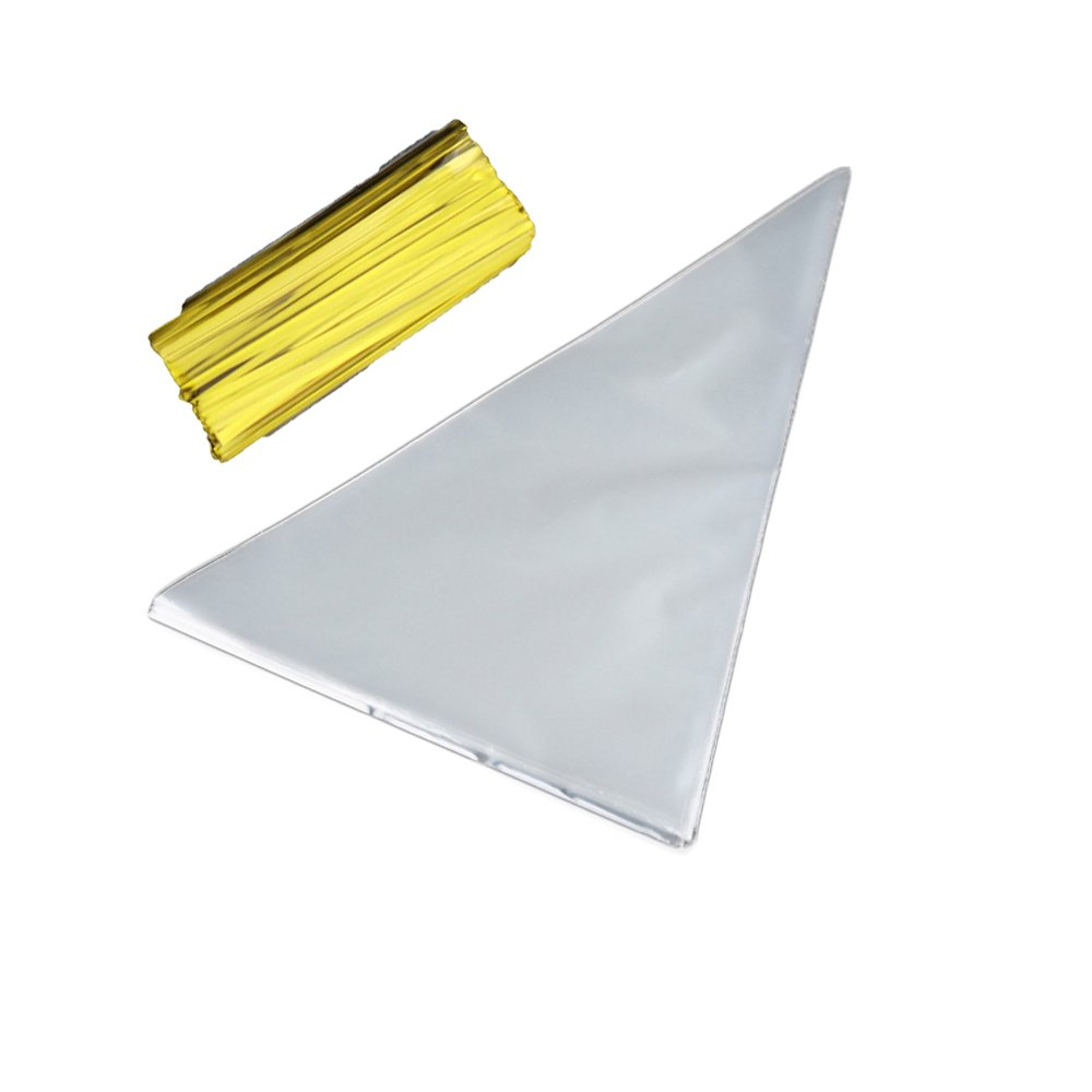 Cone Bags Cone Treat Bags 14.57x7 Clear Cello Bags with 100 Twist Ties for Popcorn,Sweety,Candy 100 PCS Crafts