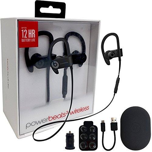 Beats by Dr. Powerbeats3 Wireless Earphones -Black & USB & Ear Gel (Certified Refurbished)