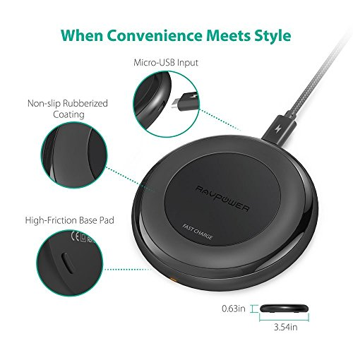 Fast Wireless Charger RAVPower 7.5W Compatible iPhone Xs MAX/XR/XS/X/8/8 Plus, with HyperAir, 10W Compatible Galaxy S9, S9+, S8, S7 & Note 8 and All Qi-enabled Devices (QC 3.0 Adapter Included) by RAVPower (Image #1)