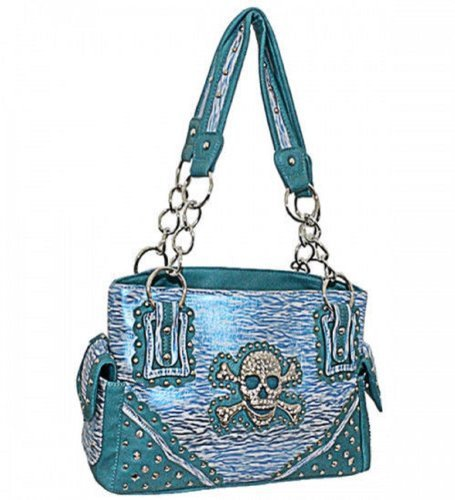 Blue Print Skull Studded Conceal and Carry Motorbiking Purse