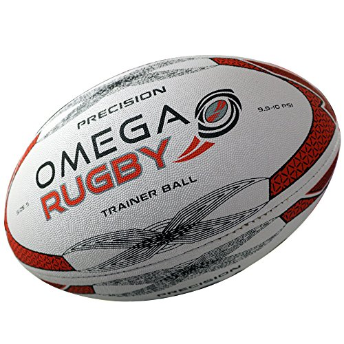 Omega Rugby Precision Training Rugby Ball (Red/Black, 5 (Age 14+))