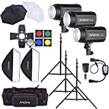 Andoer MD-300 900W (300Wx3) Studio Strobe Flash Light Kit with Light Stand Softbox Lambency Unbrella Barn Door Flash Trigger Carrying Bag for Video Shooting Location/Portrait Photography