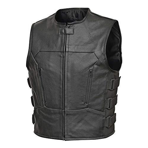 Men Full Grain Cowhide Leather Motorcycle Biker Bulletproof Style Vest Black -