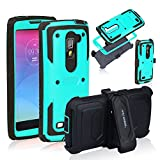 Anyshock Heavy Duty Shockproof Durable Full Body Protection Rigged Hybrid Case with belt clip holsterandKickstand for LG G Stylo 2/G Stylus 2/LS775( Free Screen Protector Included ) (Aqua)