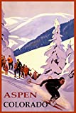 "WINTER SPORTS ASPEN SKI RESORT COLORADO DOWNHILL SKIING USA TRAVEL VINTAGE POSTER REPRO ON PAPER OR CANVAS (16"" X 24"" IMAGE MATTE PAPER)"