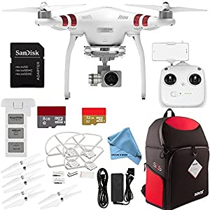 DJI Phantom 3 Standard with 2.7K Camera and 3-Axis Gimbal - ALL YOU NEED & MORE Accessory Kit + 8GB & 32GB microSDHC Memory Card + Backpack for DJI Phantom Drones + MUCH MORE
