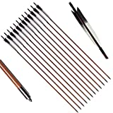 PG1ARCHERY Bamboo Arrows, 12 Pack Practice Target Arrow Handmade Self Nock Feather Fletched 6.2'' Vane for Longbow Traditional & Recurve Bow Gray White
