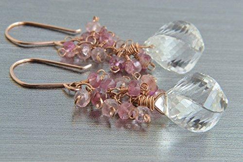 Crystal Quartz and Pink Tourmaline Cluster Earrings, 14K Rose Gold Filled (Cluster Rose Earrings Quartz)