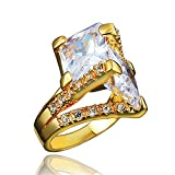 BLOOMCHARM 18K Gold Plated Cubic Zirconia Engagement Wedding Eternity Ring, Birthday Gifts for Women Girls (Gold, 8)
