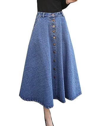67d470a329af LaoZanA Femme Jupe en Jean Rétro Élégante Jupe Maxi Longue Évasée Plissée  Jupe Bleu Clair S
